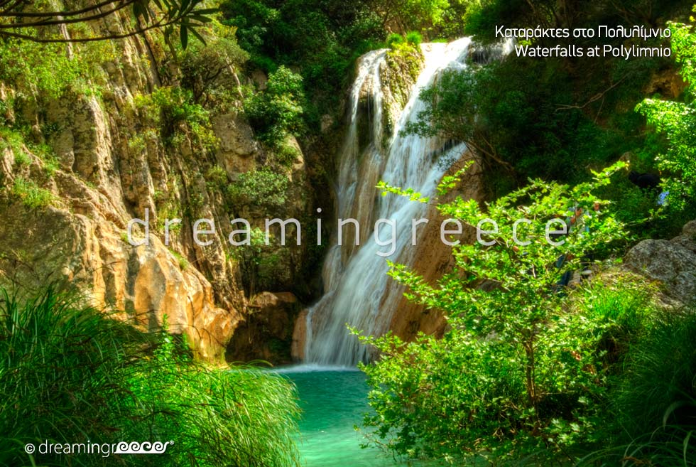 Waterfalls at Polylimnio Pylos Messinia Peloponnese Greece