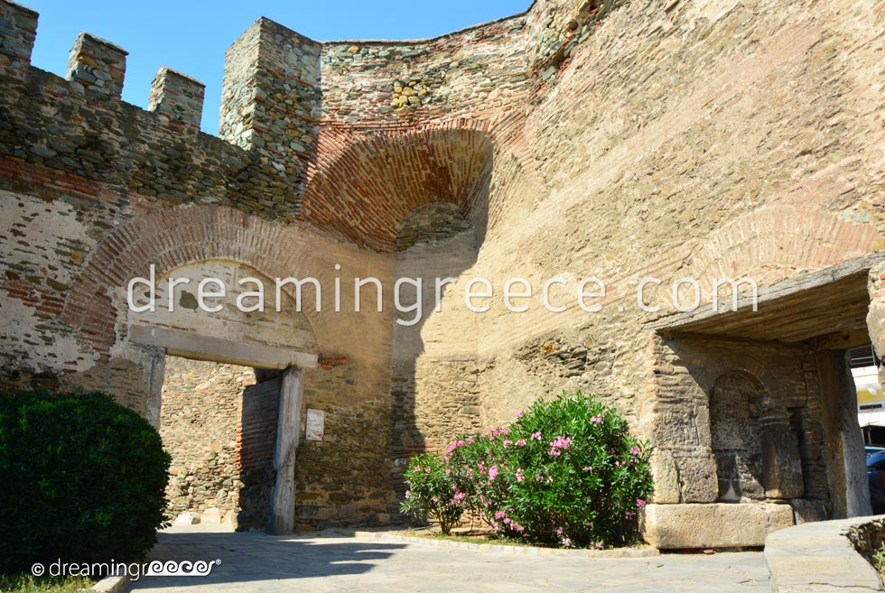 Byzantine Walls - Trigoniou Tower. Travel Guide of Thessaloniki Greece