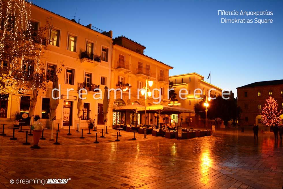 Holidays in Dimokratias Square Nafplio Argolida Peloponnese Greece