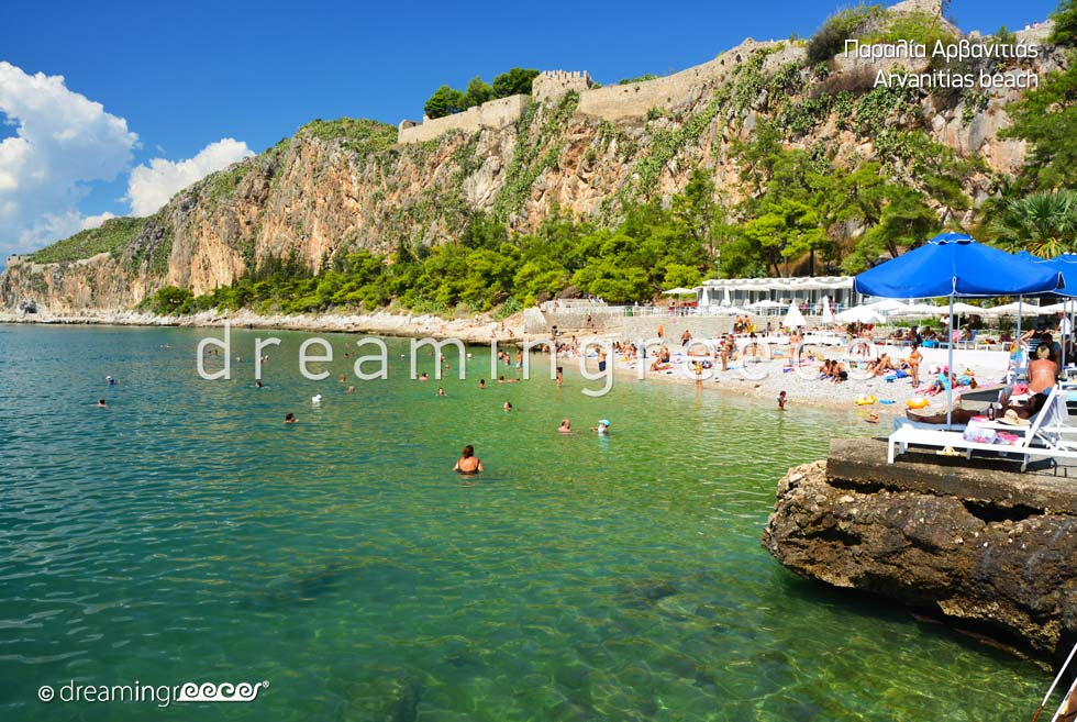 Arvanitias beach. Beaches in Nafplio Greece.