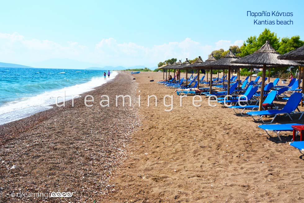 Kantias beach. Beaches in Nafplio Greece.