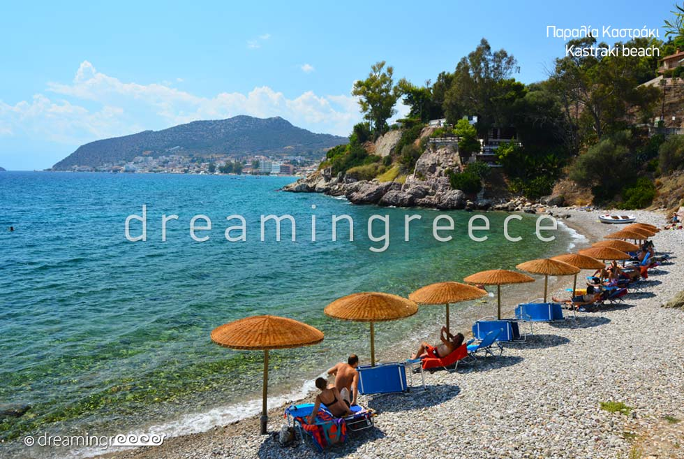 Kastraki beach. Beaches in Nafplio Greece.
