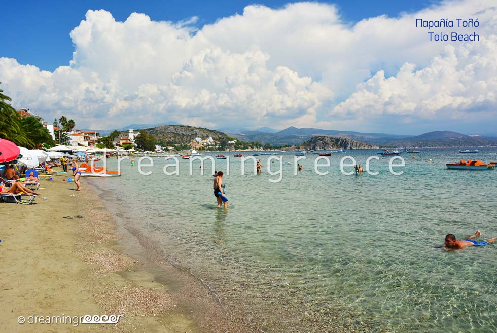 Tolo beach. Beaches in Tolo Greece.