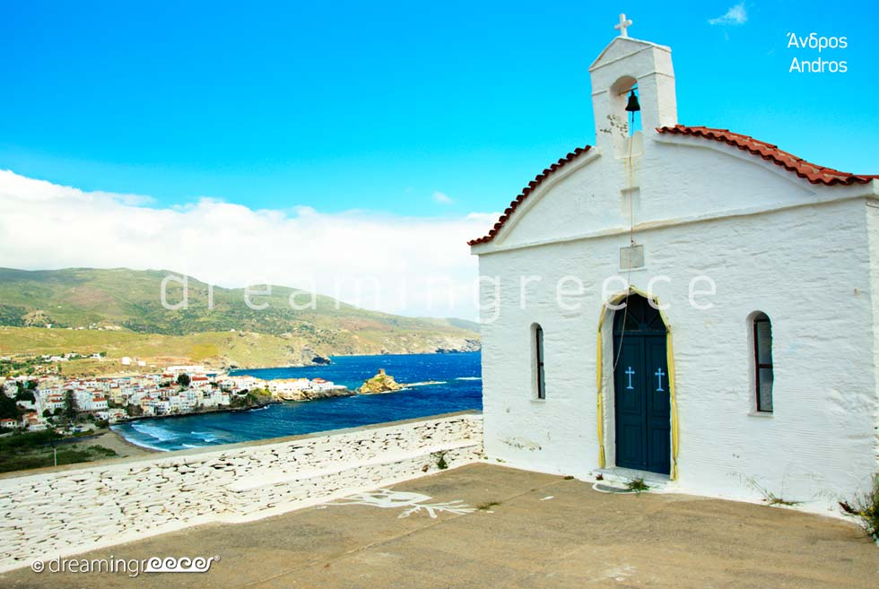 Churches in Andros island Greece Cyclades islands