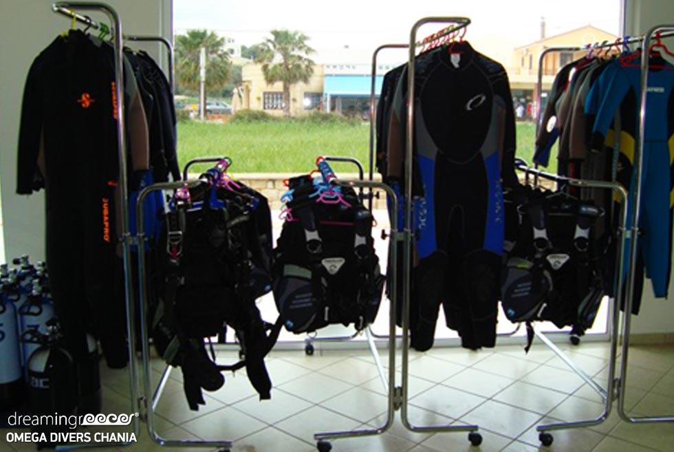 Omega Divers Diving in Chania. Scuba Diving Equipment