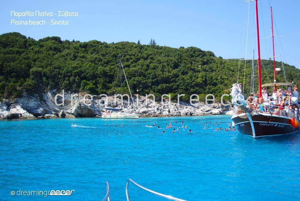 Pisina beach by boat in Sivota