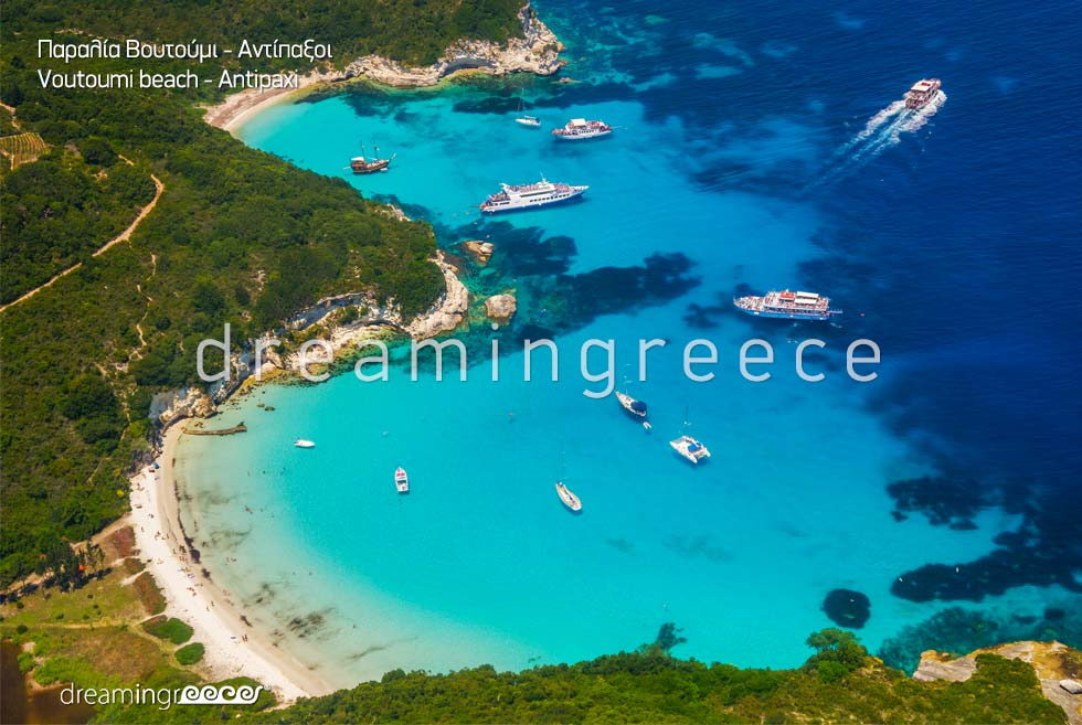 Holidays Greek islands. Vacations Greece. Voutoumi beach.