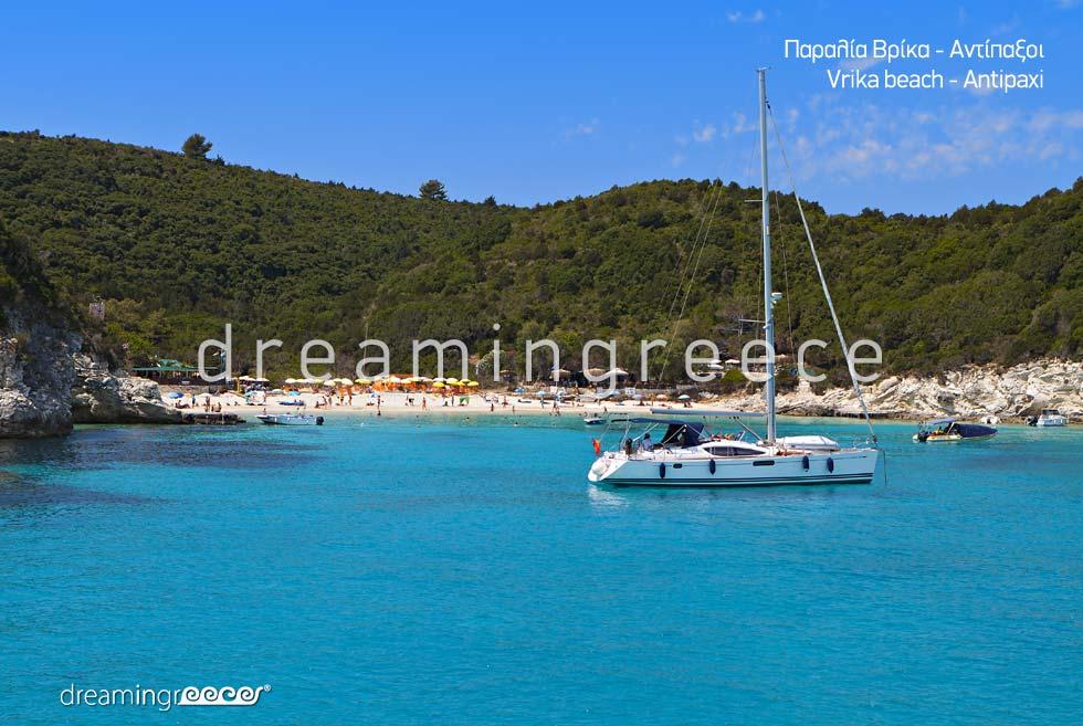 Vacations Greek islands. Holidays Greece. Vrika beach.