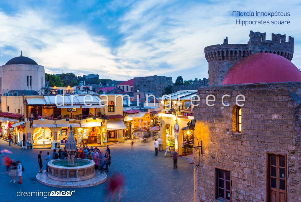 Hippocrates Square Rhodes island Dodecanese. Vacations Greek islands Greece