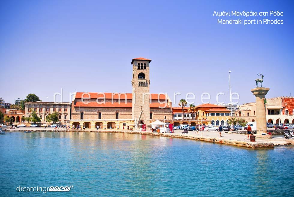 Mandraki Port Rhodes island Dodecanese. Vacations Greece