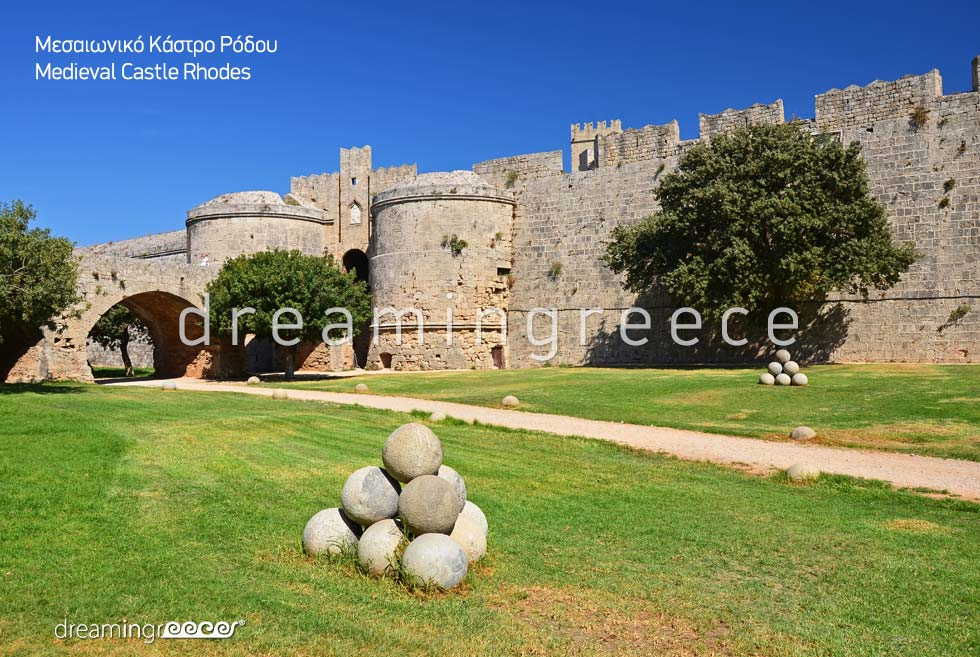 Medievil Castle Rhodes island Dodecanese Greece. Holidays Greek islands