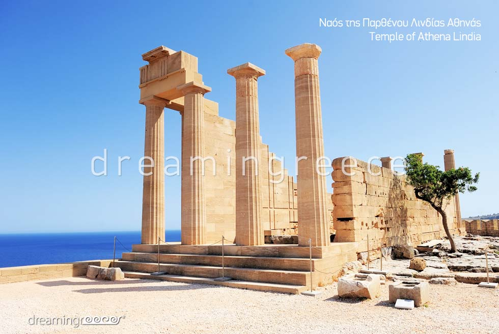 Temple of Athena Lindia Rhodes island Dodecanese. Vacations Greece