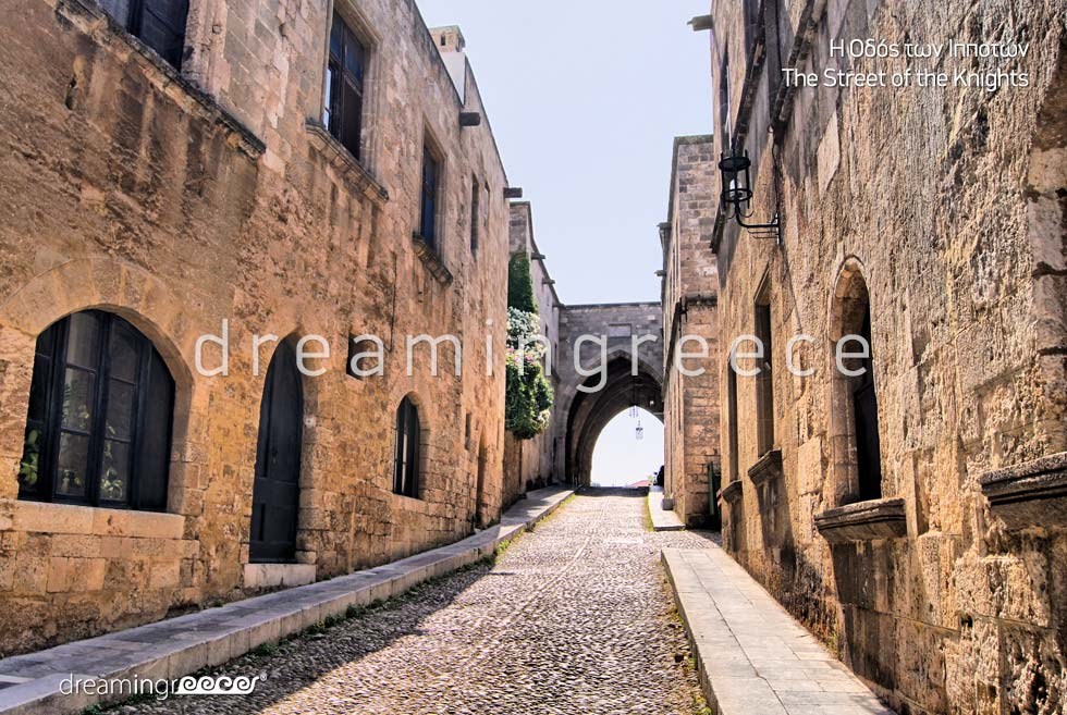 Street of the Knights Rhodes island Dodecanese. Holidays Greece