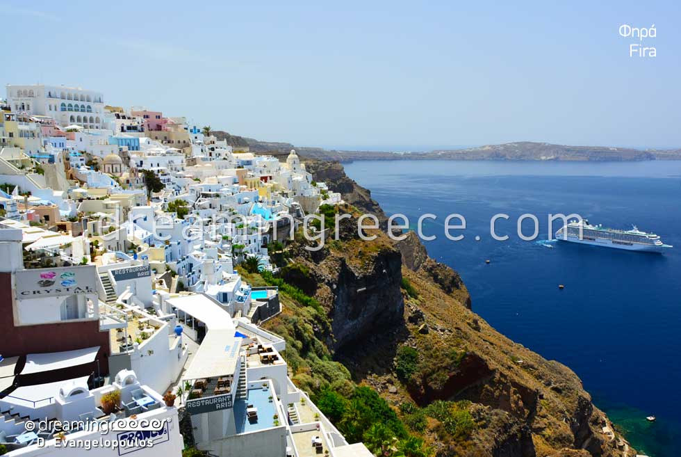 Fira Santorini. Travel Guide of Greece. Holidays Greek islands.