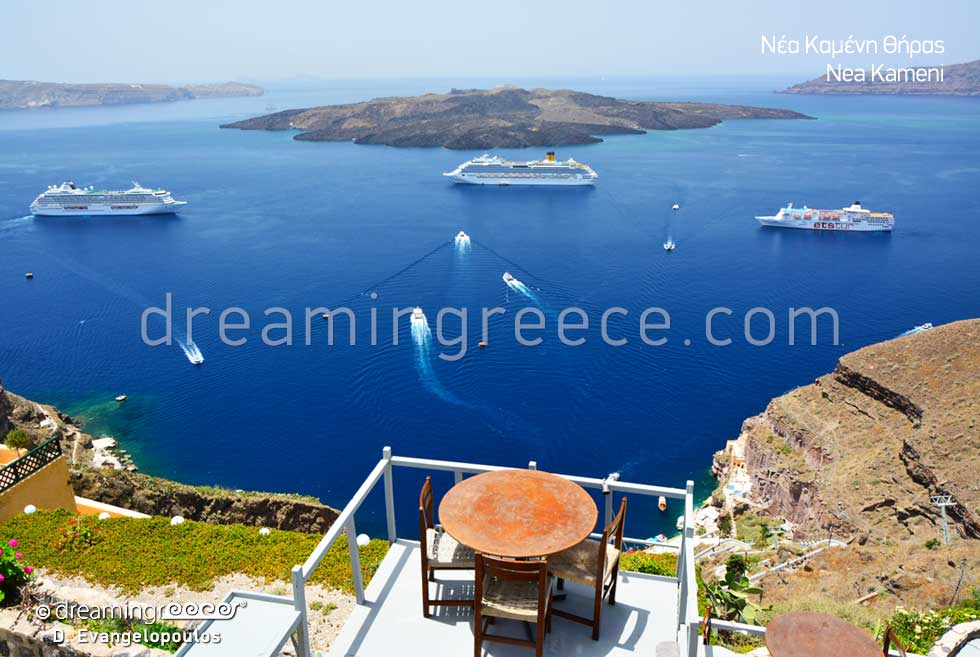 Nea Kameni Santorini island Greece. Holidays Greek islands.