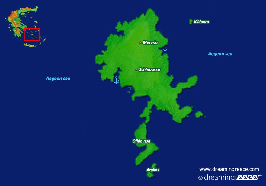 Schinoussa island Map Greece. Greek islands.