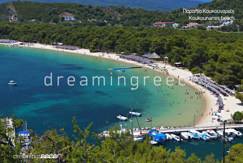Summer Vacations Koukounaries beach in skiathos island Greece
