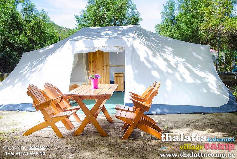 Tents Thalatta Kalamitsi Camping. Travel Guide of Halkidiki