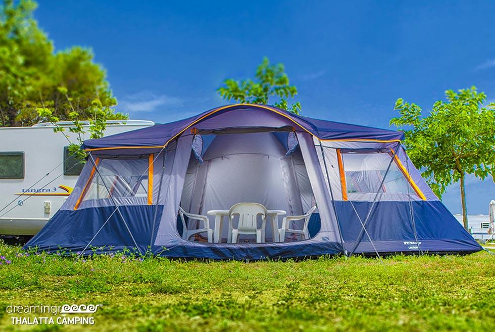 Tents in Thalatta Kalamitsi Village Camping. Summer holidays in Halkidiki.