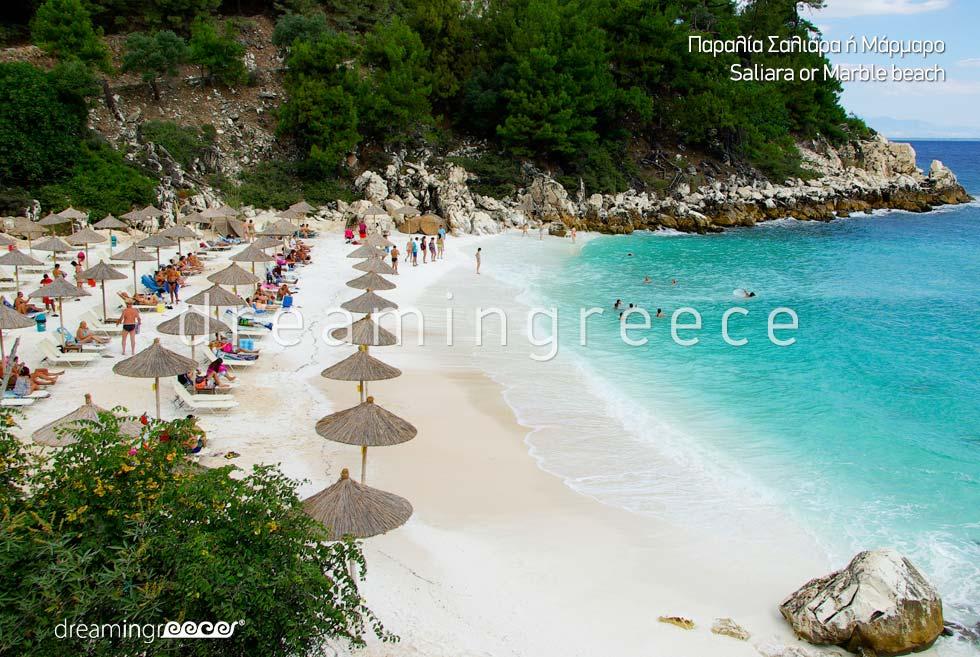 Saliara Marble beach in Thassos island Greece