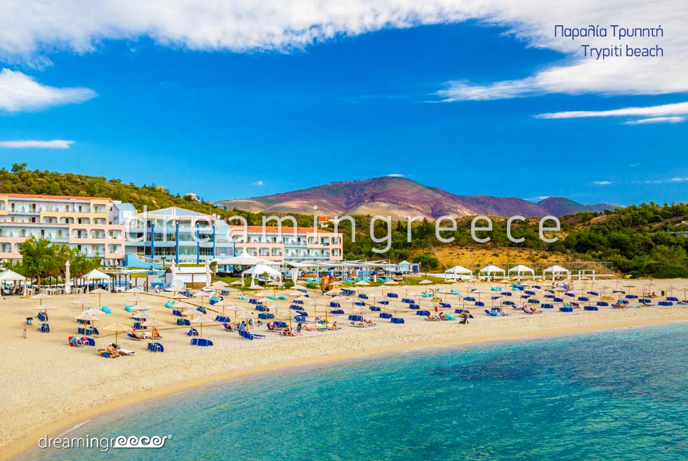 Trypiti beach in Thassos island Greece. Summer Vacations Greece