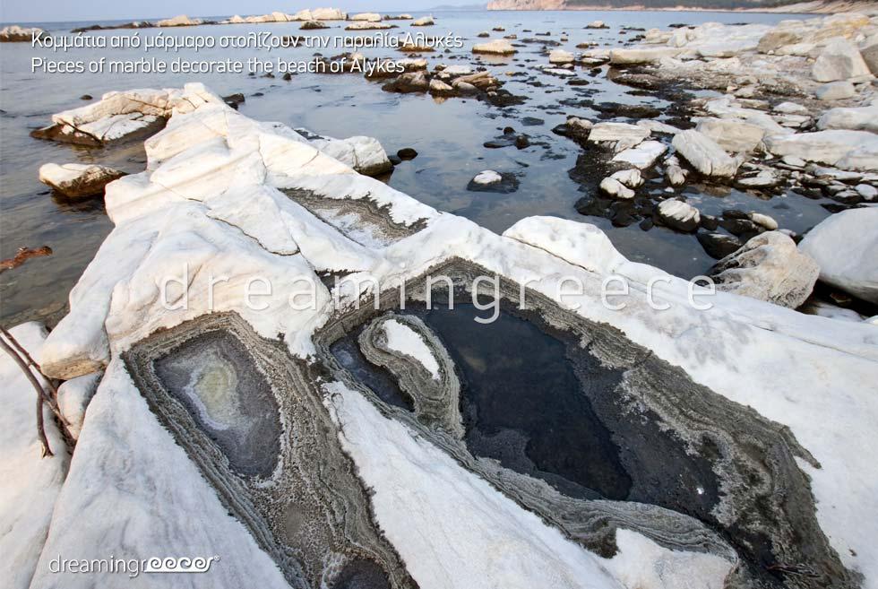 Marbles Alykes beach Thassos island Greece