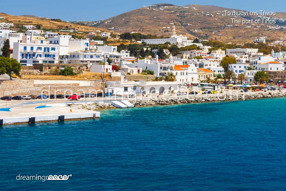 Tinos port Cyclades Greece.