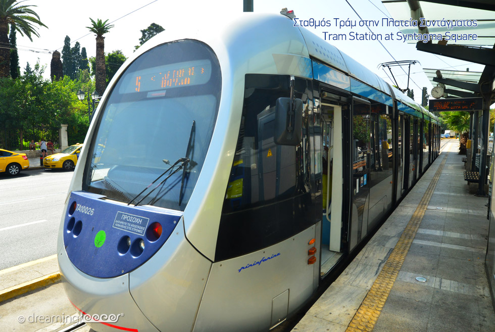 Syntagram Square Tram in Athens Greece