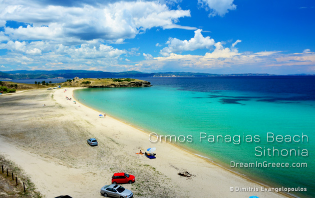 Vacations Greece Travel. Ormos Panagias beach in Chalkidiki Greece.