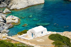 Travel Guide of Greece. Agia Anna beach in Amorgos Greece